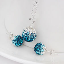 925Sterling Silver Swarovski Crystal Blue Ball Lady Necklace Earrings Set BS053
