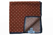 Battisti Pocket Square Rusty orange with white polkadot & navy trim, pure wool