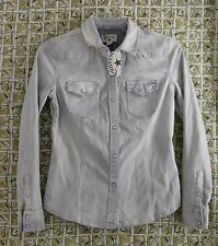 Women's Converse Denim Shirt NWT Small Petite S/P Distressed Fade Pearl Snap
