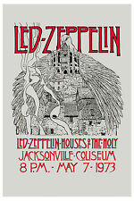 Robert Plant, Jimmy Page Led Zeppelin Houses Of Holy Florida Concert Poster 1973