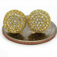 Men's Gold Plated ICED OUT Micropave Cz Earring Stud Round Screw Back Hip Hop