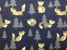 ~FLANNEL~ Fox ~ Quilting ~ Fabric ~ Flannelette ~ Blue~ Foxes ~  Boys~ Baby~ FQ