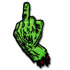 Middle Finger Patch Iron on Rock Biker Punk Evil Badge Zombie Devil Hand Sign