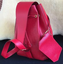 "VERY RARE New Unused Louis Vuitton Red Epi Leather ""Sac A Dos"" Bag with Pouch"