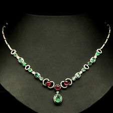 153 CTS!! LUXE! NATURAL AAA TRANSLUCENT GREEN EMERALD & RED RUBY SILVER NECKLACE