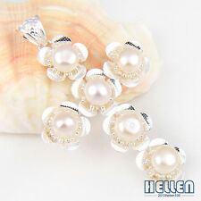 Beautiful Natural Round White Pearl 925 Sterling Silver Plated Necklace Pendant