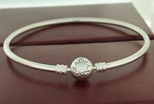 "Authentic Pandora 590713-17 6.7"" Bangle Sterling Silver Snap Bracelet"