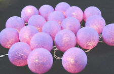 50 Lilac Cotton 6cm Ball LED Light Wedding Night Party Deco Event Battery power