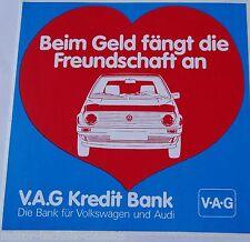 Aufkleber V.A.G Kreditbank VAG VW Audi 80er Jahre Sticker Youngtimer GOLF II 2