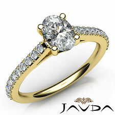 Shared Prong Set Oval Diamond Engagement Ring GIA D SI1 18k Yellow Gold 0.80Ct