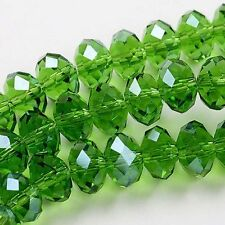 6x4mm Grass-green Crystal Loose Beads 98pcs Free Shipping AA.566
