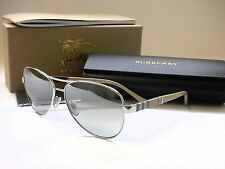 Authentic BURBERRY BE3080 1005/6V Silver/Silver Mirror 59mm Aviator Sunglasses