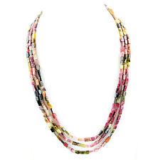 BEST EVER 220.00 CTS NATURAL 3 STRAND RICH WATERMELON TOURMALINE BEADS NECKLACE