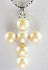 Fashion Genuine Pink Freshwater Pearl Cross White Gold Plated Pendant & Necklace