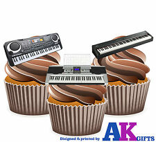 Keyboard Music Mix 12 Edible Stand Up Cup Cake Toppers Birthday Decorations