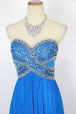 New Authentic JOVANI 89575 Turquoise Strapless Beaded Evening Prom Dress 4