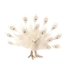 White Peacock with Jewels & Feather Tail Christmas Ornaments ig 3303467 NEW RAZ