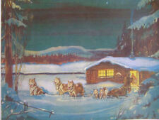 Vintage Dog Sled Team Cabin Moon Light