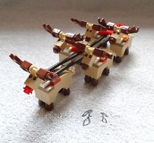 *! Genuine New Lego Custom 5 Reindeer Add-On For Santa's Sleigh From Set 10245 !