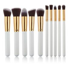 10pcs Kabuki Style Professional Make up Brush Set Foundation Blusher Golden F