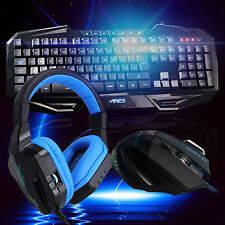 ARES K3 7 LED Backlit Gaming Keyboard 3200DPI Mouse CT-820 Blue Headphone Combo