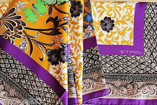 Etro Milano Italy 100% Silk Scarf Square Purple Gold Green Blue Floral Italian