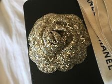 Chanel camellia flower gift accessory bronze glitter with Chanel ribbon auth