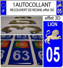 1 sticker plaque immatriculation auto 3D EN RESINE SIGNE ASTROLOGIQUE LION 05