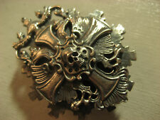 LARGE, HEAVY Sterling Silver  IRON CROSS Badge Pin Medal Order with SKULL