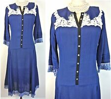 Age of Love by Nataya blue Vintage dress Rayon victorian renaissance L-Large/10
