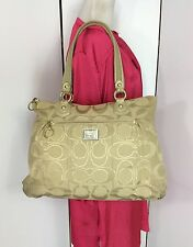 Coach Signature Lurex Glam Poppy Khaki/Gold Leather Trim Large Tote Bag 17890