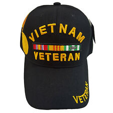 US Military Vietnam Veteran Ribbon & Medal Black  Hat Cap