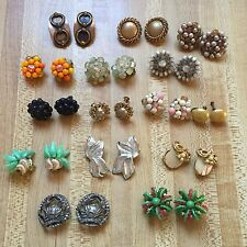 Lot of 15 Pairs Vintage 1940s-60s Costume Clip On Earrings