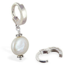 TummyToys Custom Coin Pearl Silver Navel Ring