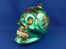 Seleton Day Of Dead Halloween Sugar Skull Glass Christmas Ornament gr 003186