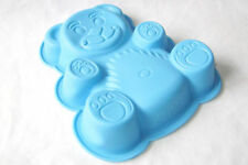 NEW CHILDRENS SILICONE CAKE BAKING TIN JELLY MOULD TEDDY BEAR BLUE PMS