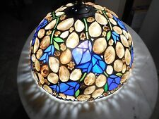 1987 Hoosin Lampworks Sea Shell Floral Hanging Lamp Light Fixture Stained Glass