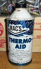 VINTAGE OLD MACS THERMO AID GAS & OIL STATION DISPLAY CAN EMPTY 12 OZ