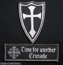 INFIDEL CROSS CRUSADER USA ARMY US SWAT OPS VELCRO® BRAND MORALE 2 PATCH SET