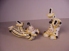 Vintage Clowns ceramic figurines Occupied Japan figures 1940's porcelain Lenwile