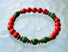 Red Coral Green Jade Wrist Mala Beads Healing Bracelet - Attracts love Assists c