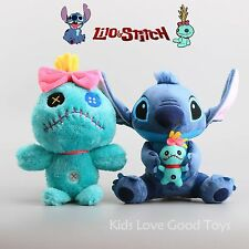 "2pcs Cartoon Lilo & Stitch and Scrump Soft Plush Toys Stuffed Dolls 12.5"" Teddy"