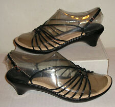 SOFFT Women's Black Leather Dress Slingback Strappy Sandals Shoes 11 M MINTY