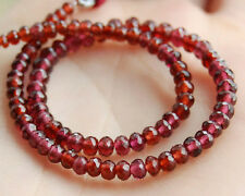 Natural Rhodolite Garnet & Red Garnet Faceted Rondelle Beads