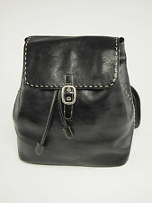 EL PORTAL Black Italian Leather Medium Knapsack Backpack