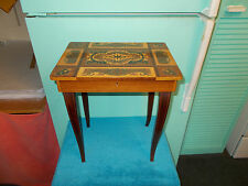 VINTAGE MUSIC BOX TABLE ITALY JEWELRY BOX WOOD INLAY WORKS!