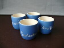 Four Devon Blueware Pottery Egg Cups