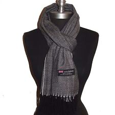 Warm New 100% Cashmere Scarf Black/White Twill Check Plaid Wool Soft Unisex#G704