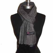 New 100% Cashmere Scarf Black/White Twill Check Plaid Wool Soft Unisex #G703