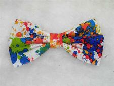 (1) PRE-TIED BOW TIE- PAINTBALL SPLATTER - RED, BLUE, GREEN, ORANGE & YELLOW